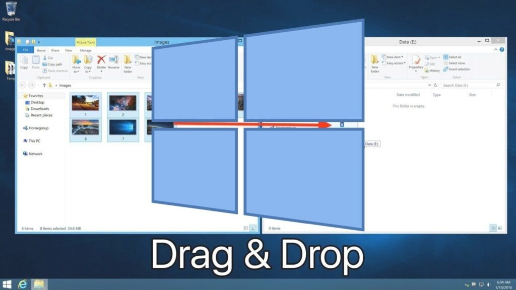 What is the click and drag feature in Windows 10?