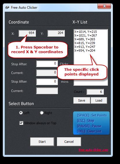 Click Points on Free Auto Clicker