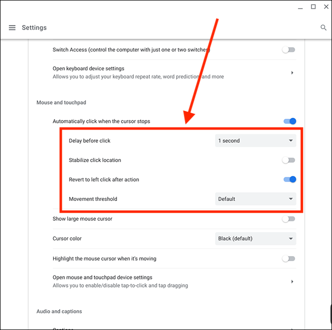 Customize the Automatic Click Setting on a Chromebook