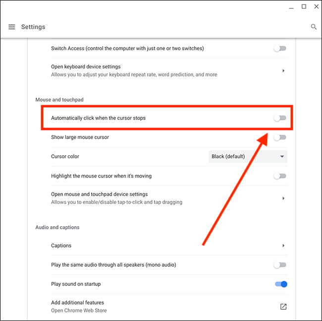 Select Automatically click when the mouse pointer stops on the Chromebook
