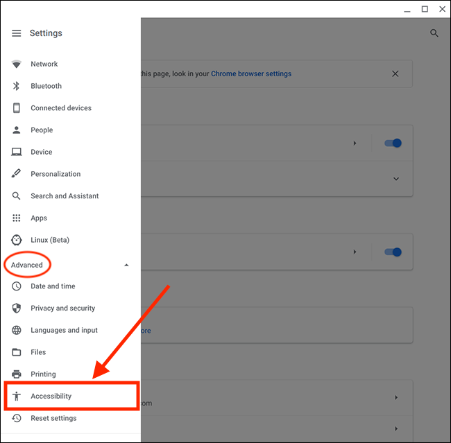 Under Advance Setting, Click the Accessibility Setting