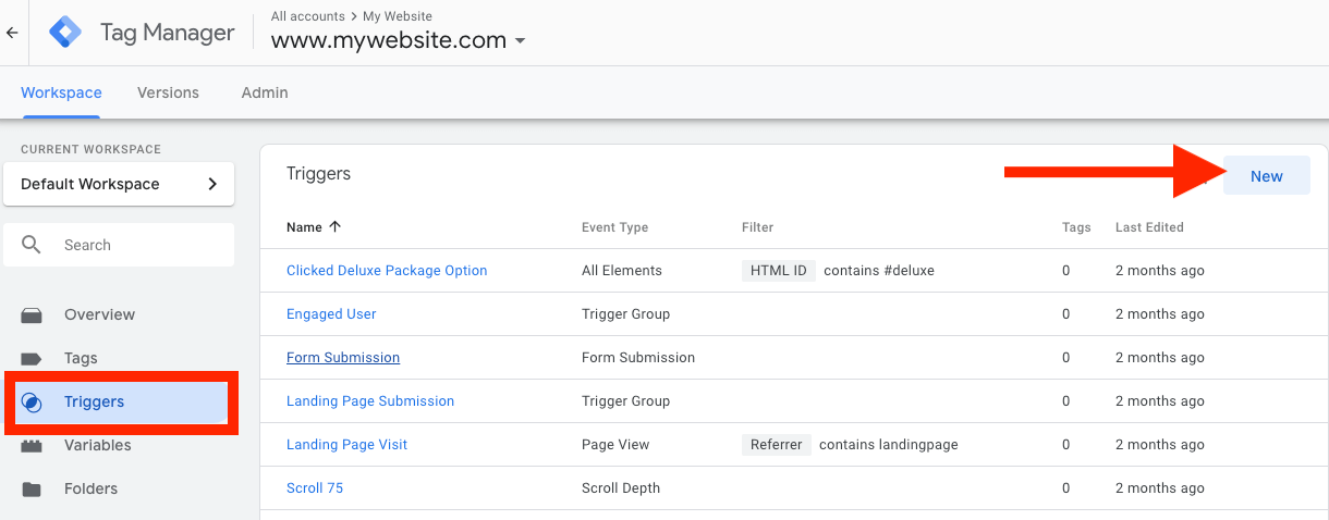 Click on Trigger -> New Google Tag Manager