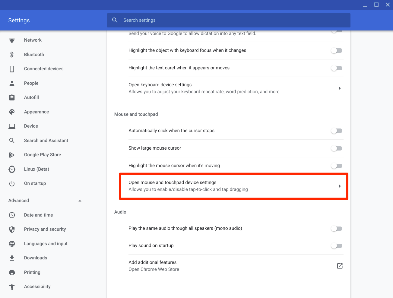Open mouse and touchpad device settings Under Mosue and Touchpad Setting in Chromebook