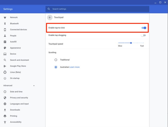 Enable Tap to Click In Chromebook Setting