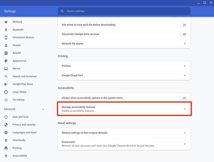 Manage Accessibility Features in ChromeBook
