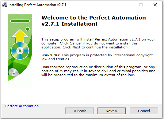 Installation Window For Perfect Automation v2.7.2