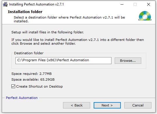 Select Destination Folder for Installing Perfect Automation v2.7.1